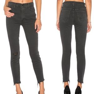 MOTHER Looker Ankle Fray High Rise Black Jeans